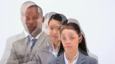 em linha : Business people in line against a white background
