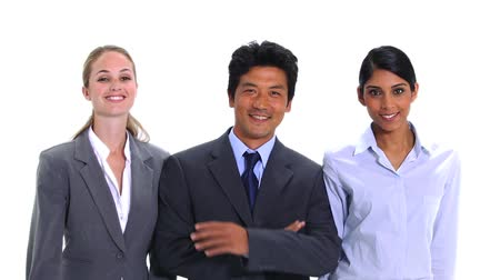 hint : Business people walking and posing against a white background
