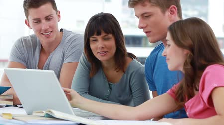 aluno : Smiling students working together with a laptop in a bright room Stock Footage