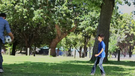 infantil : Video of a father and his son playing football in a park