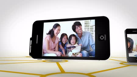 asian family : Animation with videos of an Asian family