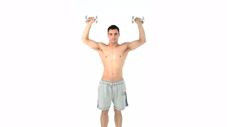 levantamento de pesos : Sportsman doing weightlifting against a white background Vídeos