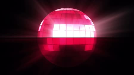 mozaik : Pink disco ball against a black background Stok Video