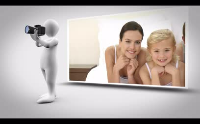 фотосъемка : Family photography animation with digital figure taking photographs on white background