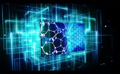 bezešvý : DNA Technology International videos on digital blue and black grid background