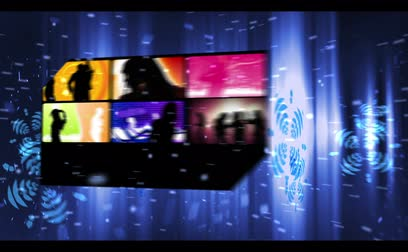 неон : Montage of party and clubbing clips on digital blue neon background