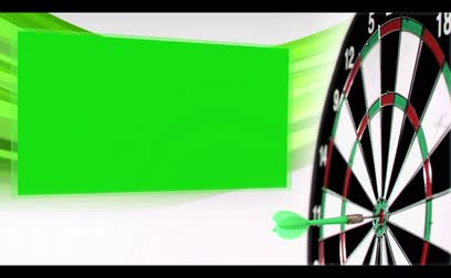 dart : Slow-motion arrow flying at dartboard with appearing chroma keys on white background