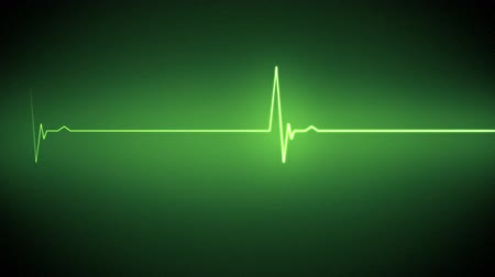 oran : Green heart monitor line on black background