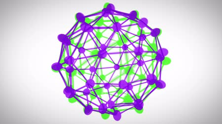 ve tvaru : Revolving green and purple connected sphere on white background