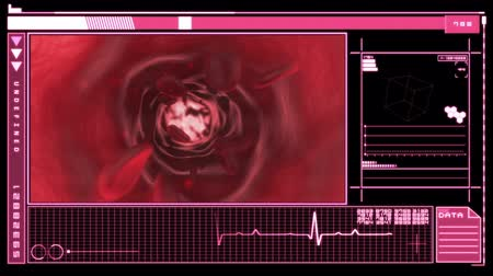 krew : Medical digital  interface showing bloodflow through veins in pink and black Wideo