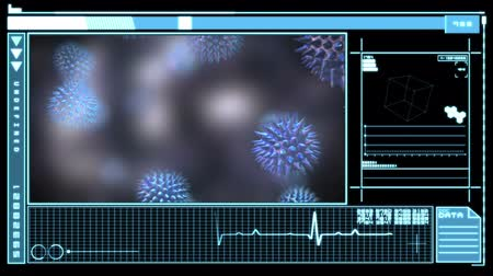 immune : Medical digital interface showing virus in blue and black