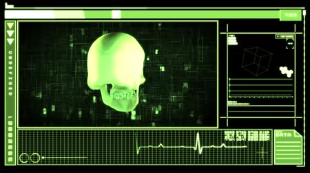 ferimento : Medical digital interface showing revolving skull in black and green