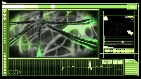 ideges : Medical digital interface showing green neuron moving through nervous system on black background