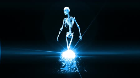 csontváz : Revolving skeleton appears and becomes fully formed walking human in blue on black background