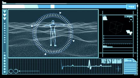 mężczyźni : Medical digital interface showing revolving figure man in dial circle on black and blue