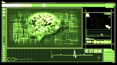 neurologia : Médico interfaz digital para presentar su cerebro verde giratoria en fondo negro y verde Archivo de Video