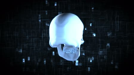 csontváz : Revolving blue skull on moving black and blue digital background