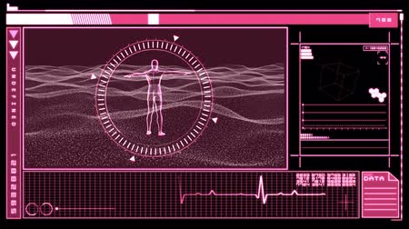 mężczyźni : Medical digital interface featuring revolving figure of man in moving dial in pink and black