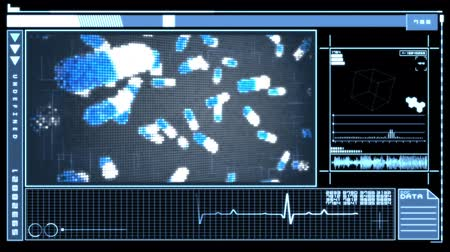tabletki : Medical digital interface featuring falling blue and white pills on blue and black