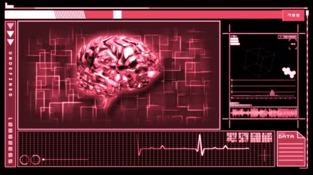 bas : Medical digital interface featuring revolving pink brain on pink and black background Stok Video