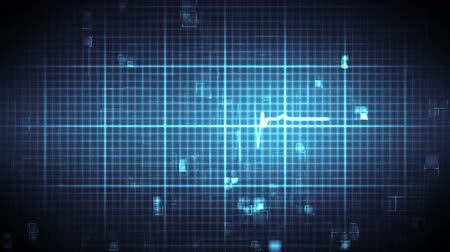 oran : Blue ECG on black and blue moving digital grid background Stok Video