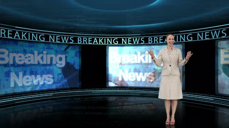 news tv : Reporter  on television and telling the breaking news