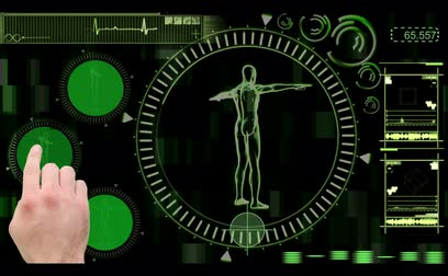 část těla : Digital interface with rotating human figure displaying copyspaces on black and green background Dostupné videozáznamy