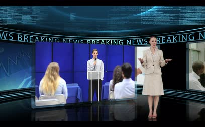 news tv : Reporter standing in a studio and reporting business news