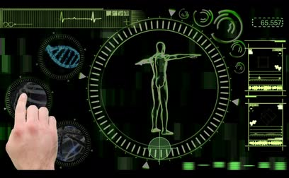 ДНК : Hand selecting various medical clips from digital menu with revolving human figure in green and black