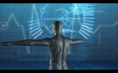 puls : Computer-animated and medical video of revovling human figure on digital blue background Dostupné videozáznamy