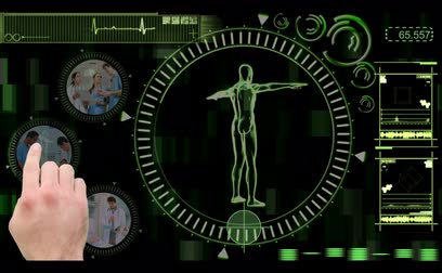 asistan : Hand selecting videos of doctors in the hospital from interactive black and green menu with revolving human figure Stok Video