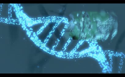 genética : Various medical clips appearing on blue DNA helix background