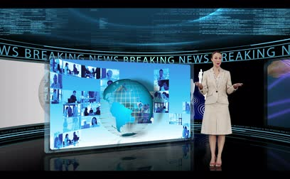 элегантный : Woman reporting about breaking news of the world