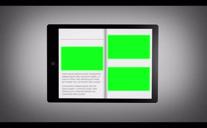 página : Digital book with chroma keys on tablet