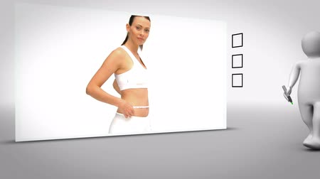 perda de peso : Clip of woman measuing waist o grey bakcground with anmited figure ticking box Stock Footage