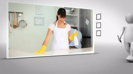 sünger : Clip of woman cleaning kitchen on white background with animated figure ticking box