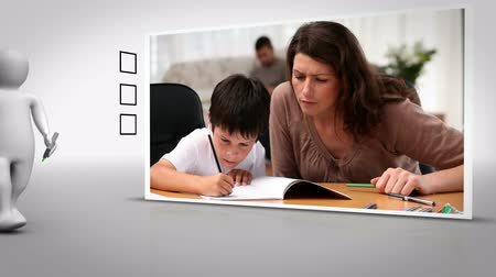 домашнее задание : Clip of mother and child doing homework together on white background with animated figure ticking box Стоковые видеозаписи