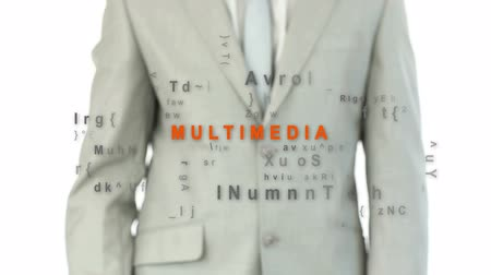 multimediální : Businessman touching the word multimedia against white background with buzz words appearing