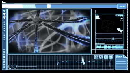gergin : Medical digital interface showing blue neuron pulsing through nervous system in blue and black Stok Video