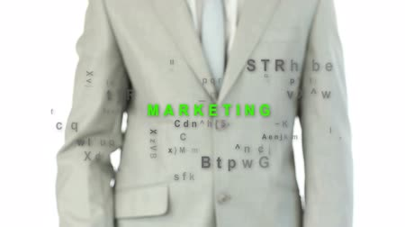 marketing : Business man pushing the marketing button which makes buzz words appear and disappear