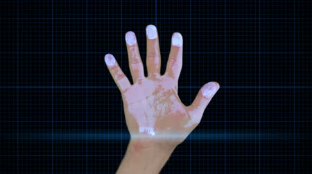 fingertips : Futuristic hand scan technology with dna and skeleton clips