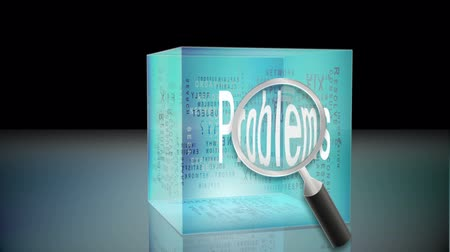 problem : Problems and solutions animation with magnifying glass Stock Footage