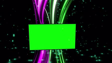 görsel : Montage of green screens with abstract background and particles