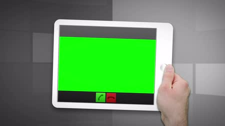 таблетка : Montage of green screen into a tablet hold by hands Стоковые видеозаписи