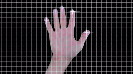 сканирование : Futuristic hand scan idenification technology on blue and black grid with blue data Стоковые видеозаписи