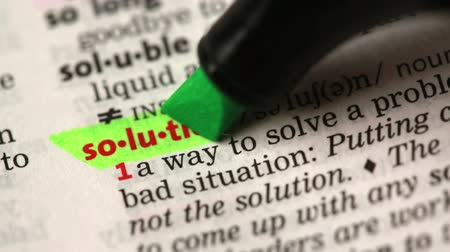 подчеркнул : Definition of solution highlighted in the dictionary