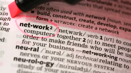anlamı : Definition of network and networking circled in the dictionary