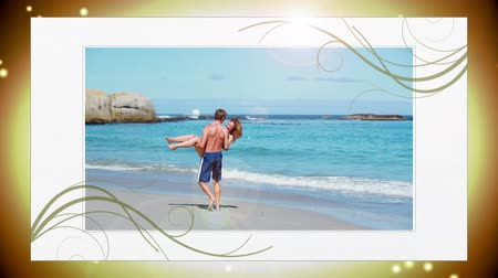 transportar : Montage of young couples in love on golden spark background Stock Footage