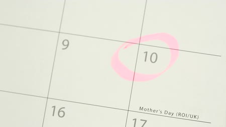календарь : Man circling mothers day on calendar with pink highlighter and laying down pink and yellow tulip Стоковые видеозаписи