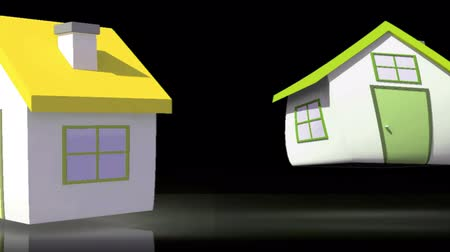 gösteren : Animation of houses appearing with their roofs representing BER rating on black background
